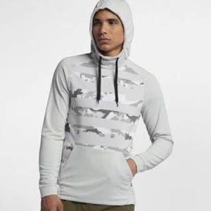 White and grey camo print sweatshirt.